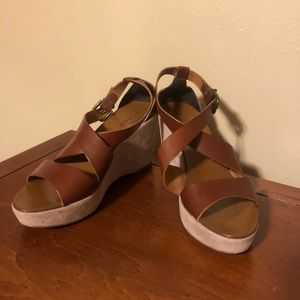 J Crew Italian Leather/Suede wedges